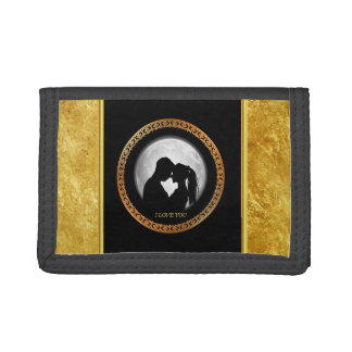 Young couple black silhouette kissing one another trifold wallet