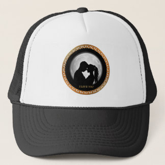 Young couple black silhouette kissing one another trucker hat