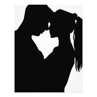 Young Couple In Love Silhouette Custom Letterhead