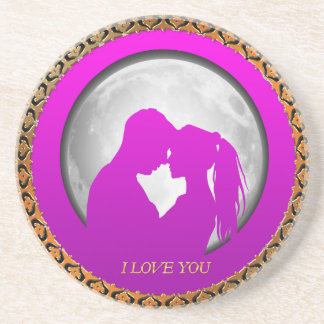 Young couple pink silhouette kissing one another coaster