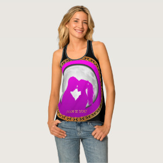 Young couple pink silhouette kissing one another tank top