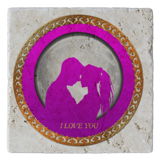 Young couple pink silhouette kissing one another trivet