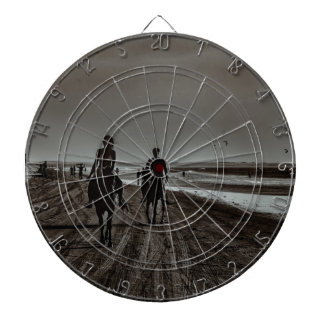 Young Couple Riding Horses at the Beach Dartboard