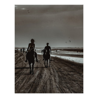 Young Couple Riding Horses at the Beach Letterhead