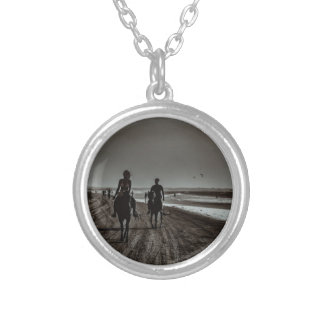 Young Couple Riding Horses at the Beach Silver Plated Necklace