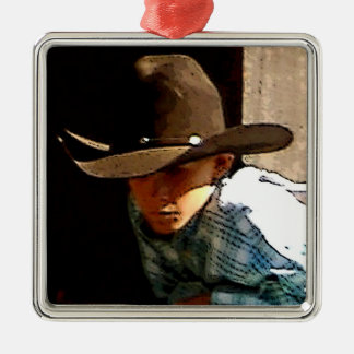 Young Cowboy Metal Ornament