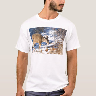 Young Deer in Snow T-Shirt