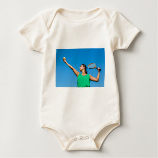 Young dutch woman with tennis racket and ball baby bodysuit
