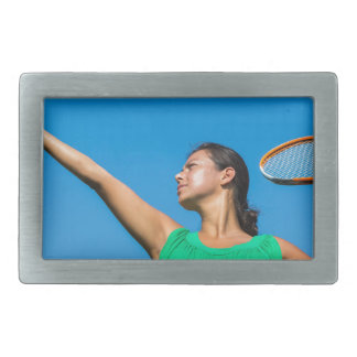 Young dutch woman with tennis racket and ball rectangular belt buckle