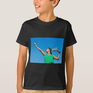 Young dutch woman with tennis racket and ball T-Shirt