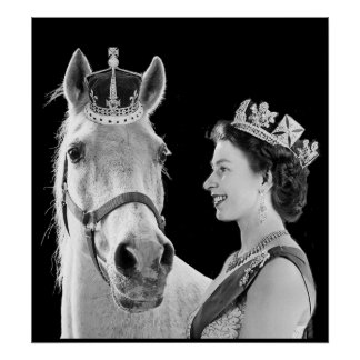 Young Elizabeth II crowns her horse Poster
