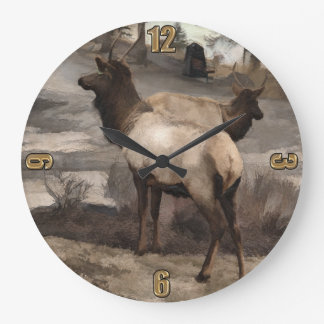Young Elk Bucks   -  Banff Alberta Large Clock