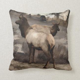 Young Elk Bucks   -  Banff Alberta Throw Pillow