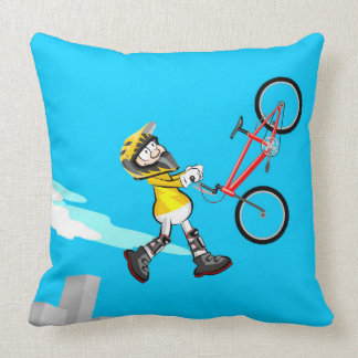 Young extreme BMX jumping by the air with its bike Throw Pillow