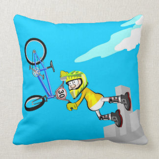 Young extreme BMX jumping with its bicycle Throw Pillow