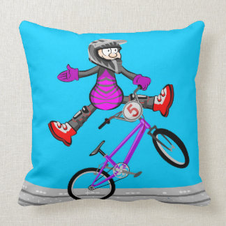 Young extreme BMX showing its better pirouette Throw Pillow