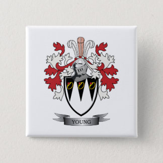 Young Family Crest Coat of Arms 2 Inch Square Button