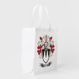 Young Family Crest Coat of Arms Grocery Bags