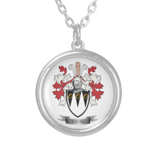 Young Family Crest Coat of Arms Silver Plated Necklace