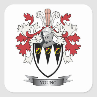 Young Family Crest Coat of Arms Square Sticker