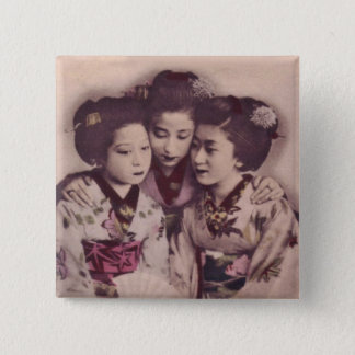 Young Geisha girls 2 Inch Square Button