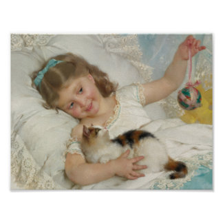 Young Girl and Cat by Emile Munier, 1882 Poster