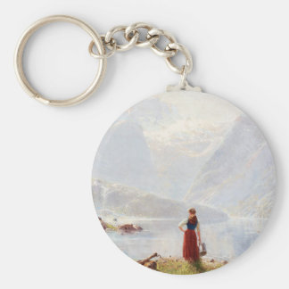 Young Girl Beside the Fjord Keychain