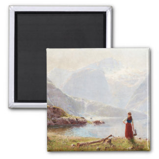 Young Girl Beside the Fjord Magnet