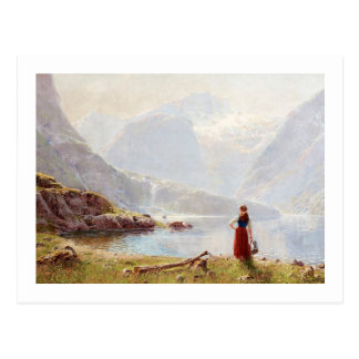 Young Girl Beside the Fjord Postcard