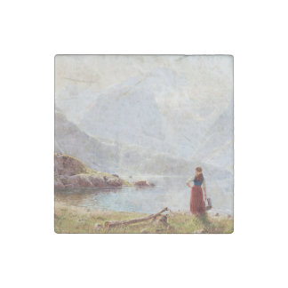 Young Girl Beside the Fjord Stone Magnets