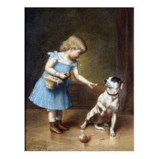 Young Girl Feeding A Dog By Carl Reichert Postcard