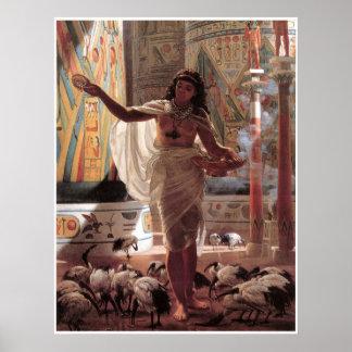Young girl feeding the Sacred Ibises at Karnak, Poster