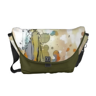 Young girl going messenger bag