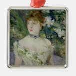 Young girl in a ball gown, 1879 Silver-Colored square ornament