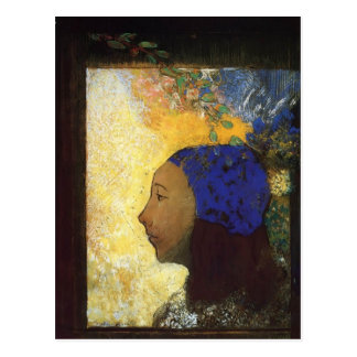 Young Girl in a Blue Bonnet by Odilon Redon Postcards