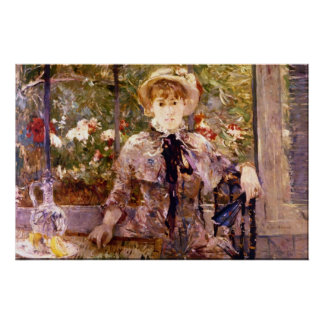 Young Girl in a Green House by Berthe Morisot Poster