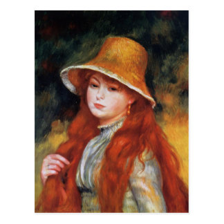 Young Girl in a Straw Hat by Renoir Postcard