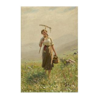 Young Girl in Norwegian Grasslands by Hans Dahl Acrylic Print