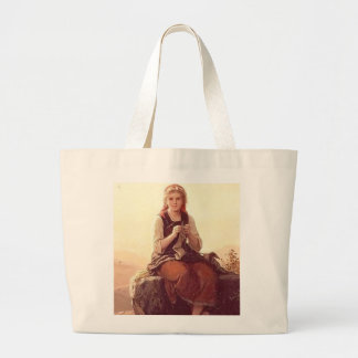 Young Girl Knitting Tote Bags