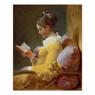 Young Girl Reading Poster