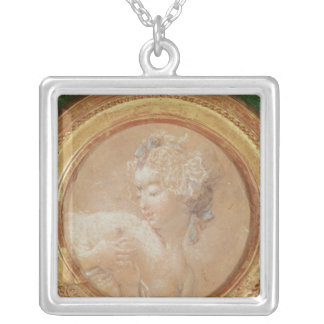 Young Girl Squeezing her Breast Silver Plated Necklace