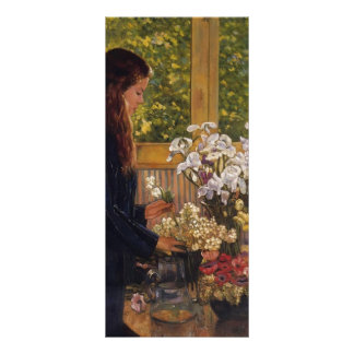 Young Girl Vase of Flowers by Theo Rysselberghe Customized Rack Card