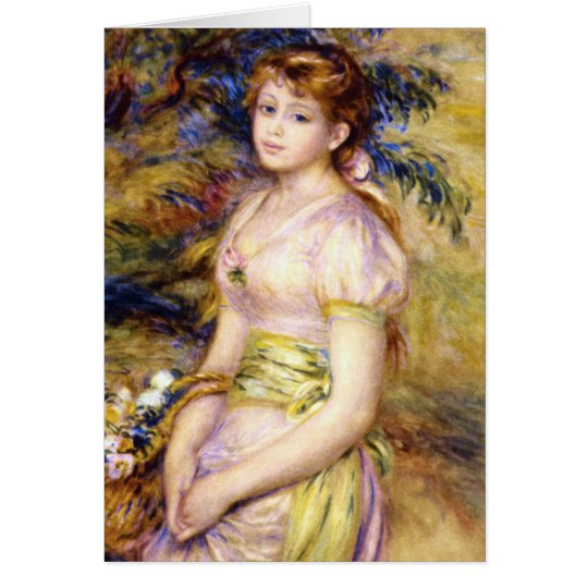 Young Girl with a Basket of Flowers by Renoir Card