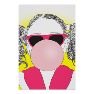 young girl with a bubble poster