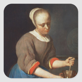 Young girl with a pestle and mortar square sticker