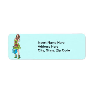 Young Girl With Gift Return Address Label