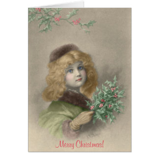 Young girl with holly Christmas Card