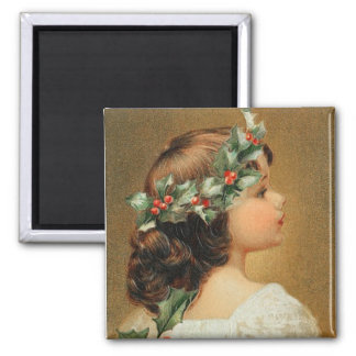 Young Girl with Holly Vintage Magnet
