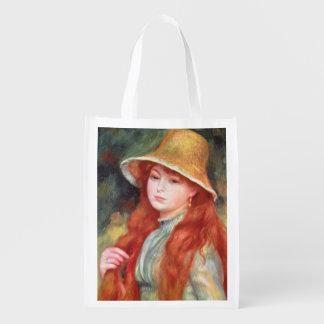 Young girl with long hair reusable grocery bag