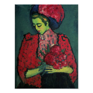 Young Girl with Peonies Poster